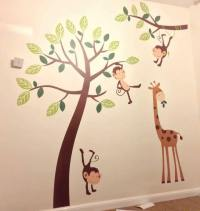 Monkey Tree Giraffe Jungle Nursery Wall Art Stickers, Wall ...