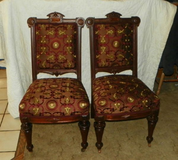 Pair Walnut Carved Renaissance Revival Parlor Chairs