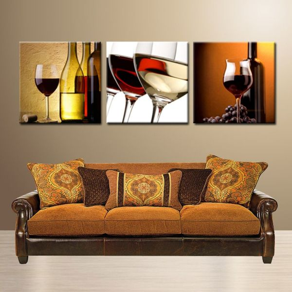 Wine Glass Bottle Ready Hang Wall Art Print 3 Panel Mdf