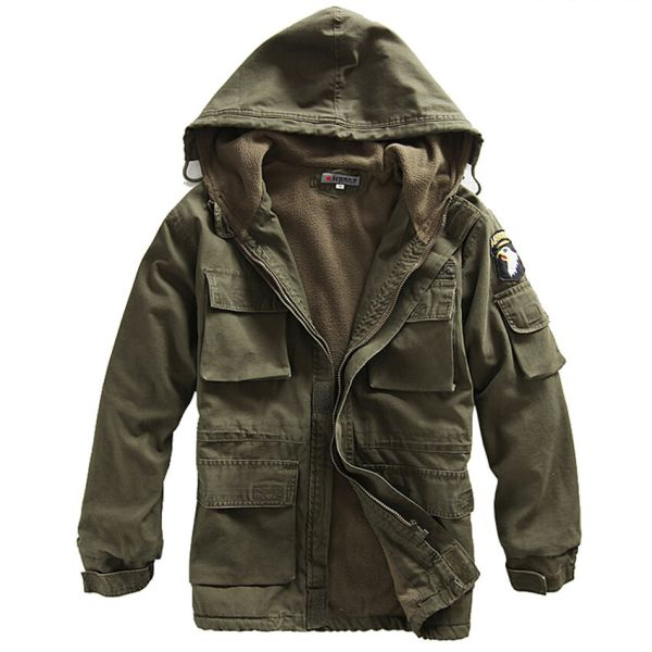 Mens Coat Military Cotton Fleece Hooded Warm Jacket