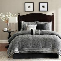 BEAUTIFUL ELEGANT RICH MODERN GREY BLACK WHITE COMFORTER ...