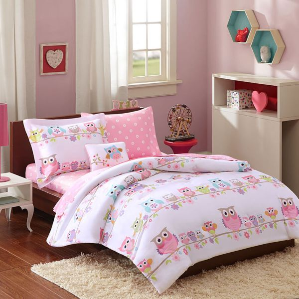 Modern Purple Pink Stripe Soft Girls Bed In Bag Comforter