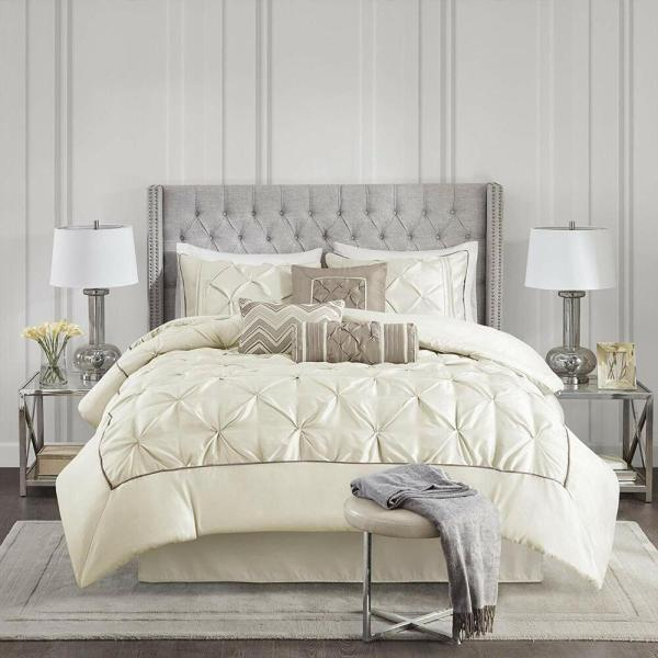 ivory and beige bedroom BEAUTIFUL CHIC IVORY WHITE BEIGE PINTUCK PLEATED TUFT RUCH RUFFLE COMFORTER SET | eBay
