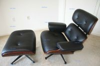 Rosewood Lounge Chair and Ottoman Black Aniline Leather ...