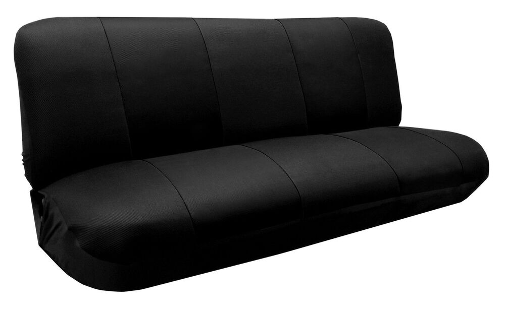 Mesh Knit Polyester Solid Black Seat Cover Full Size Bench