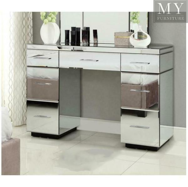 Rio Mirrored Dressing Table Console 7 Drawer - Mirror