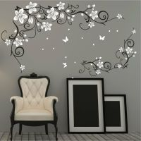 Butterfly Vine Flower Vinyl Wall Art Stickers, Wall Decals ...