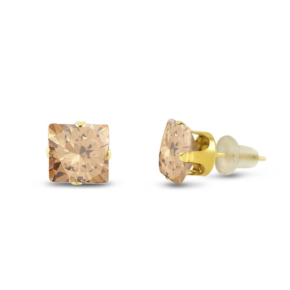 10k Yellow Gold Square Stud Earrings