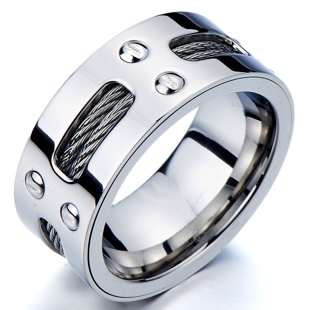 Mans Stainless Steel Ring Wedding Band With Steel Cables