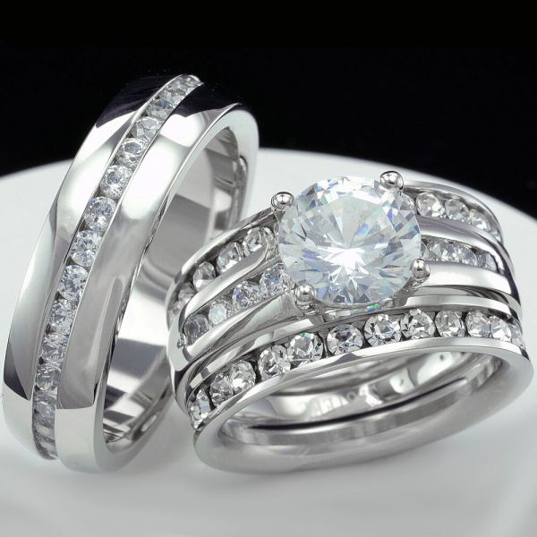 4 Pcs Womens Engagement Stainless Steel & Mens Wedding Bridal Rings Set