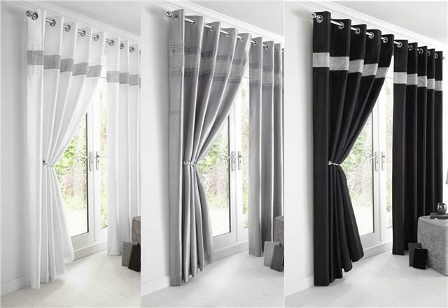 NEW DIAMANTE FAUX SILK LINED CURTAINS BLACK SILVER OR WHITE EYELET CURTAINS EBay