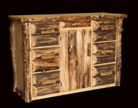 Rustic Log Office Console/Buffet - Western Country Cabin ...