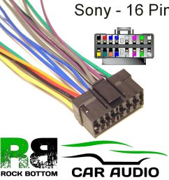 sony mdx series car radio stereo 16 pin wiring harness loom bare wire lead ebay [ 1000 x 1000 Pixel ]