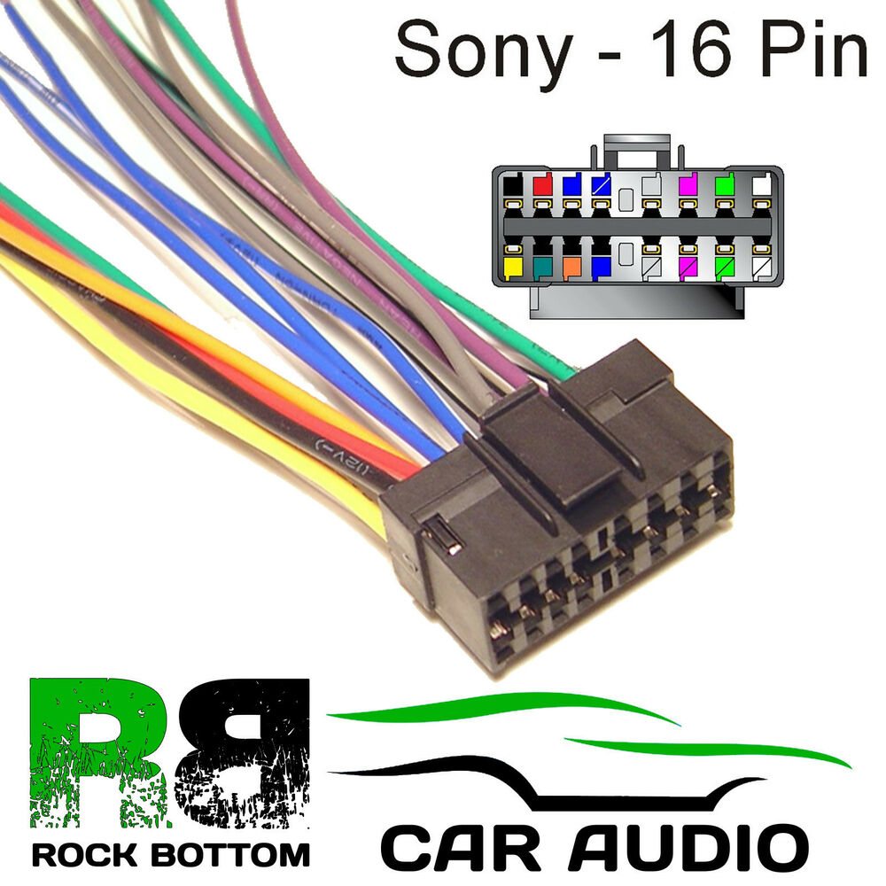 hight resolution of sony mdx series car radio stereo 16 pin wiring harness loom bare wire lead ebay