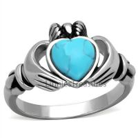 Irish Claddagh Ring Stainless Steel Simulated Turquoise ...