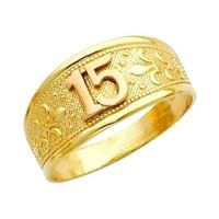 "14K Solid Yellow & Rose Gold Quince Anos ""15"" Sweet ..."
