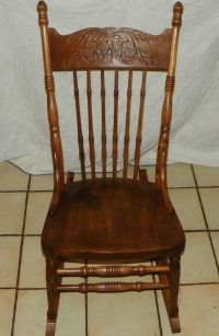 Elm Carved Sewing Rocker / Rocking Chair (R160)