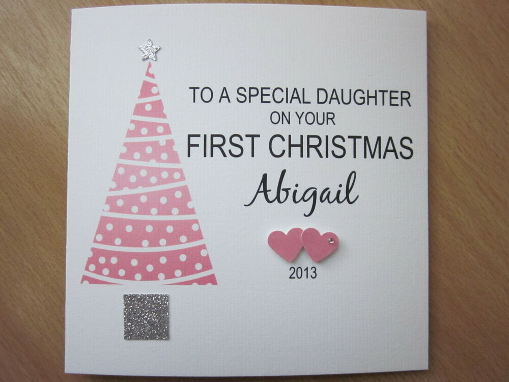 Personalised Handmade Baby Girls 1st First Christmas Card