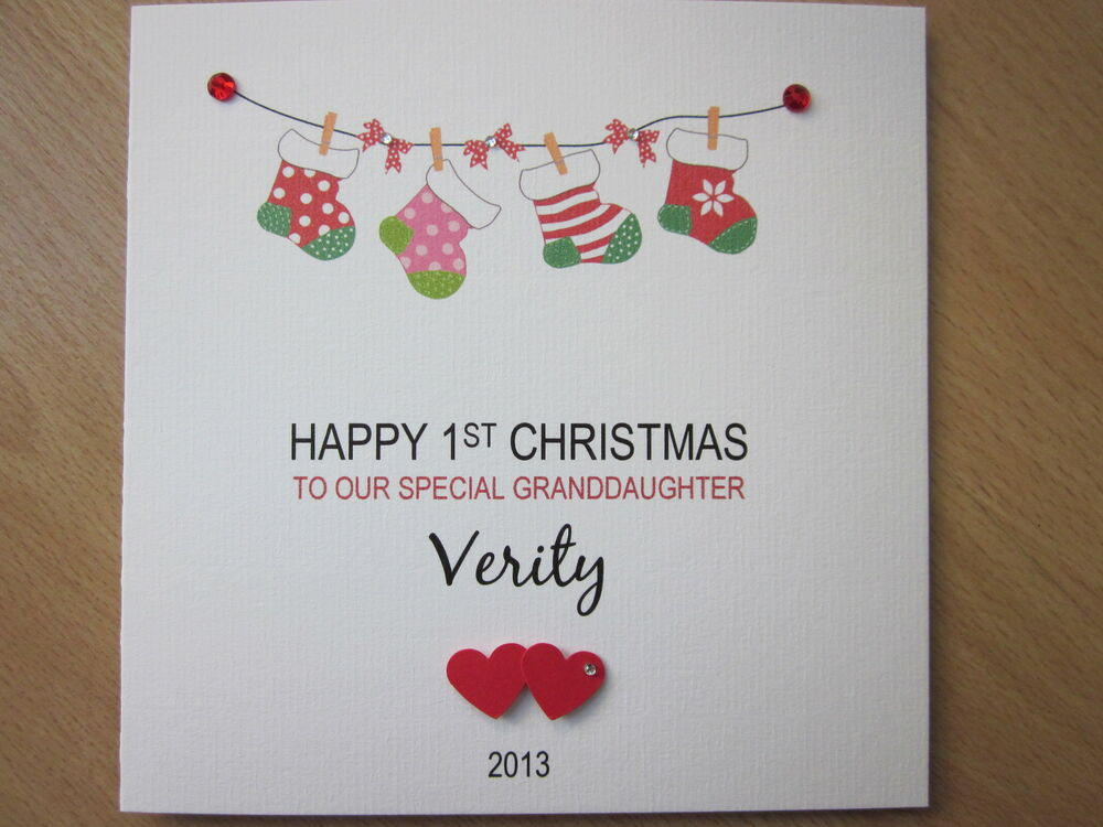 Personalised Handmade Baby's 1st First Christmas Card