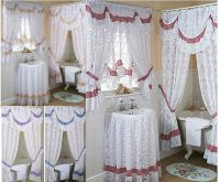 Chantilly lace bathroom shower or window curtains,mock
