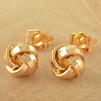Lovely 9K Solid Gold Filled Womens Love-Knot Stud Earrings ...