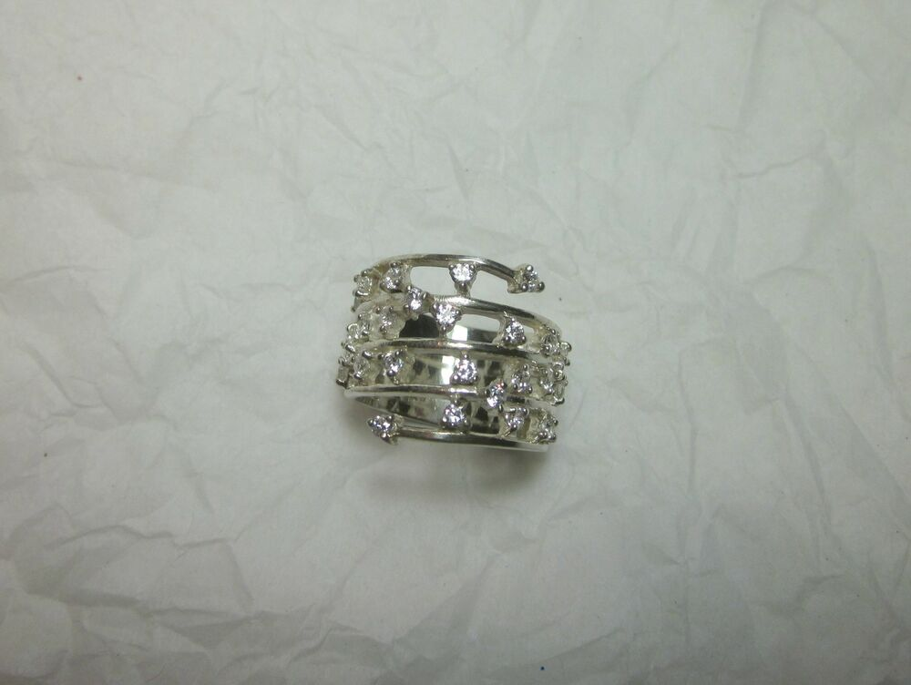 925 Sterling Silver Cubic Zircon Wide Band RING Sz 75