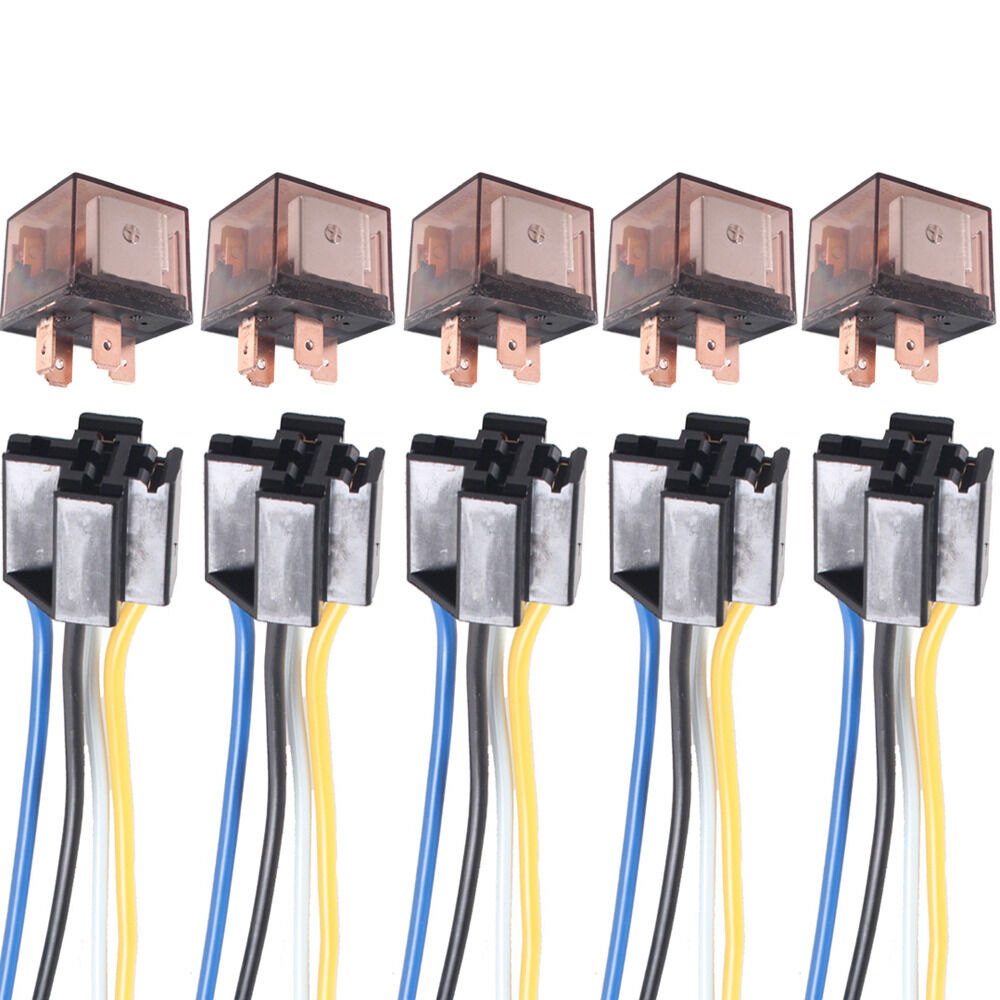 hight resolution of details about 5 x car truck auto 12v 80a 80 amp spst relay relays 4 pin 4p socket 4 wire