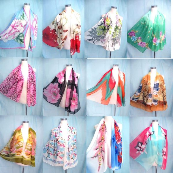 Seller Lot Of 10 Chiffon Scarf Seasons Bulk Fashion
