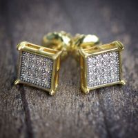 Mens 14k Gold Block Square Hip Hop Iced Out Earrings | eBay