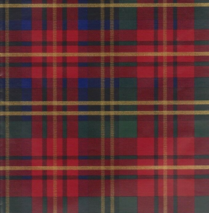 RED PLAID TARTAN HEAVY EMBOSSED CHRISTMAS GIFT WRAPPING