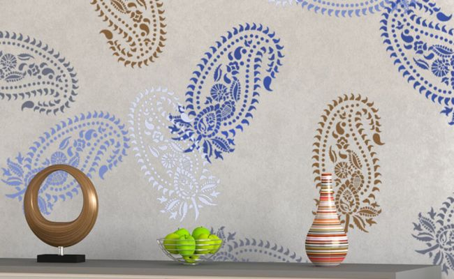 Vintage Paisley Stencil Damask Pattern For Diy Wall Decor