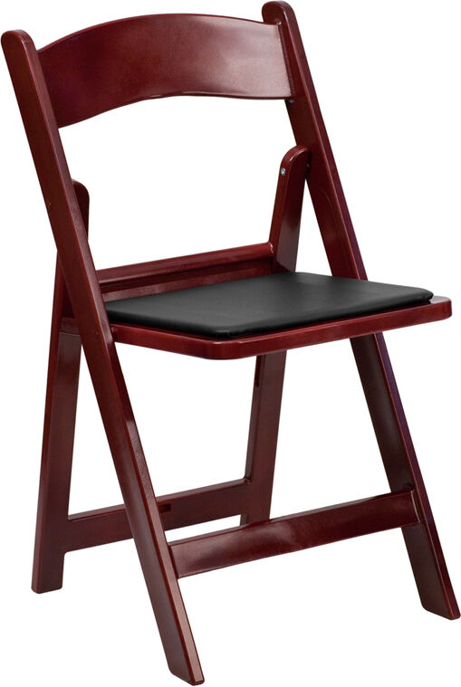 50 PACK Mahogany Resin Folding Chair w Padded Seat