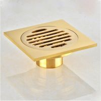 "Solid Brass Gold Square 4"" Brass Bathroom Shower Drain ..."