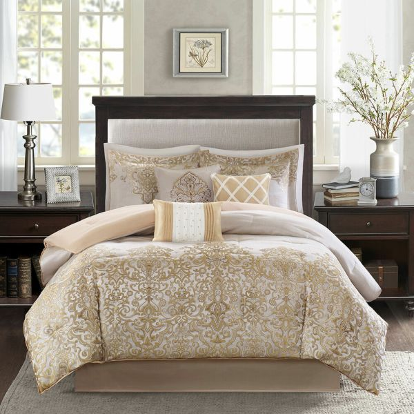 ivory and beige bedroom BEAUTIFUL 7PC ELEGANT RICH LUXURIOUS GOLD IVORY WHITE BEIGE SCROLL COMFORTER SET | eBay