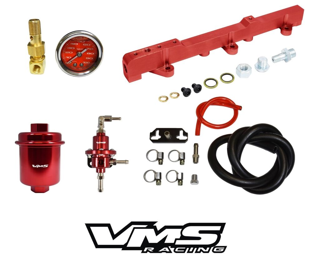 hight resolution of details about vms racing fuel gauge rail regulator filter for 96 00 honda civic d16 red