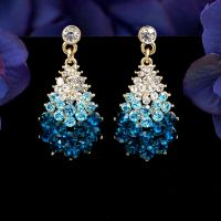 New 18K Gold Plated GP Blue Crystal Rhinestone Drop Dangle