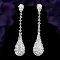 Rhodium Plated Clear Crystal Rhinestone Long Drop