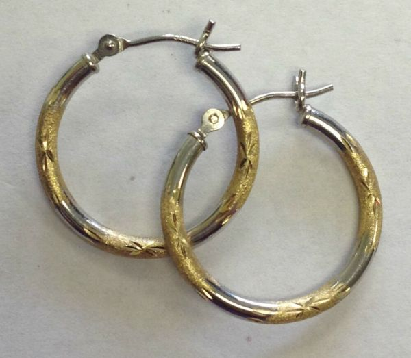 14k Solid White & Yellow Gold Hoop Earrings