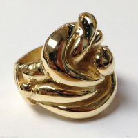 HUGE HEAVY 45g MENS BIG CELTIC KNOT RING 9CT GOLD ON ...