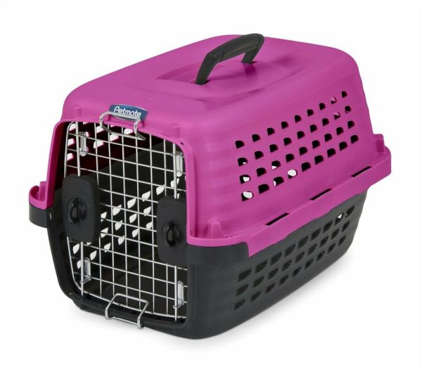 Petmate Compass Plastic Pets Dog Kennel Hot Pink Withblack