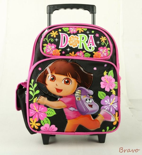 "Nickelodeon Dora Small 12"" Girls Rolling Backpack Bag"