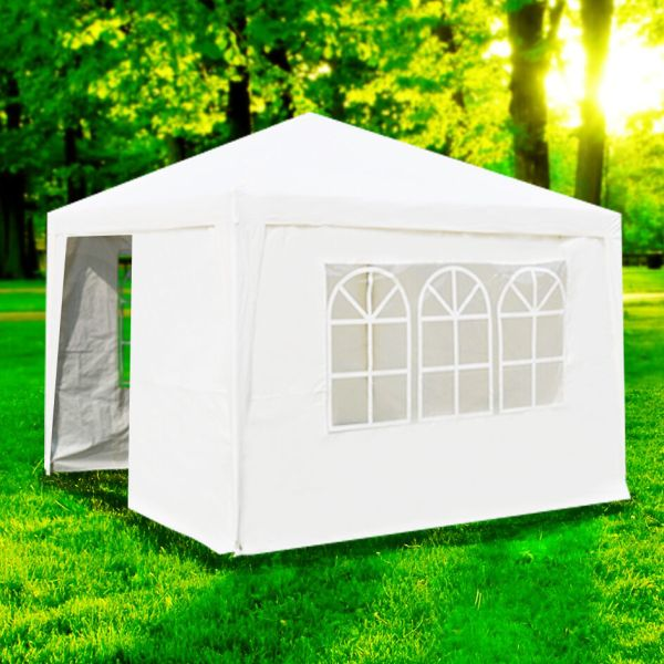 10'x10' Outdoor Canopy Party Wedding Tent White Gazebo Pavilion With4 Sidewalls