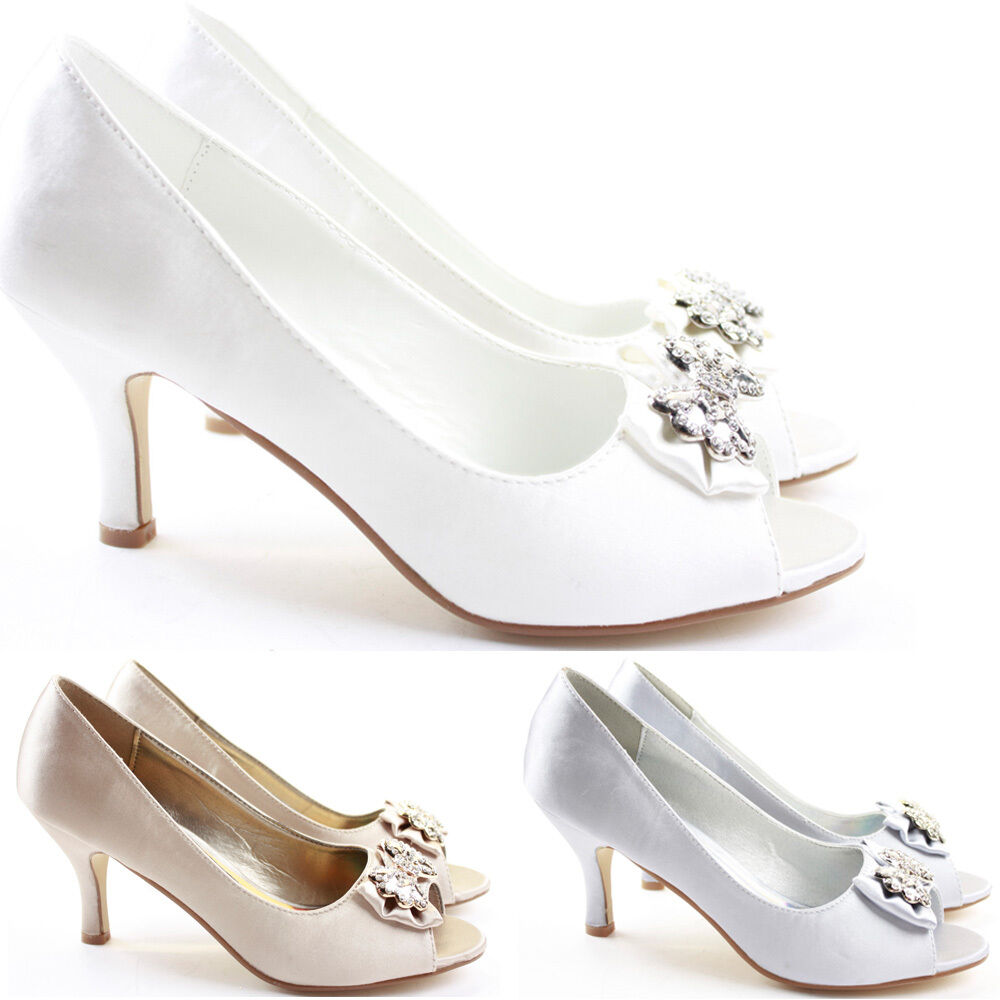 WOMENS WEDDING BRIDAL LADIES PROM SHOES LOW HEEL BRIDESMAID EVENING SANDALS SIZE  eBay