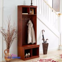 Entryway Wooden Hall Tree Shoe Storage Bench Coat Rack ...