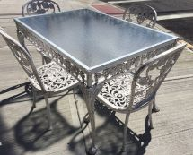 Vintage Molla Cast Aluminum Patio Garden Set Table & 4