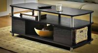 CONTEMPORARY COFFEE TABLE STORAGE MODERN BLACK END TABLES ...