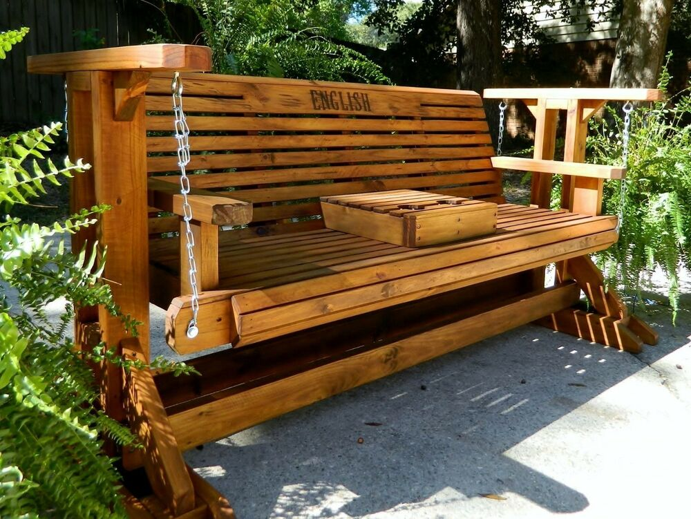 5ft Handmade Southern Style Wood Porch Glider Patio Glider