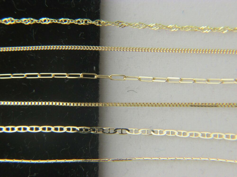 Solid 10k Yellow Gold Chain Necklace Box Chain Rope Chain