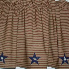 Rustic Kitchen Valances How Much For Remodel Americana Navy Stars On Berry Red Ticking Homespun Valance ...