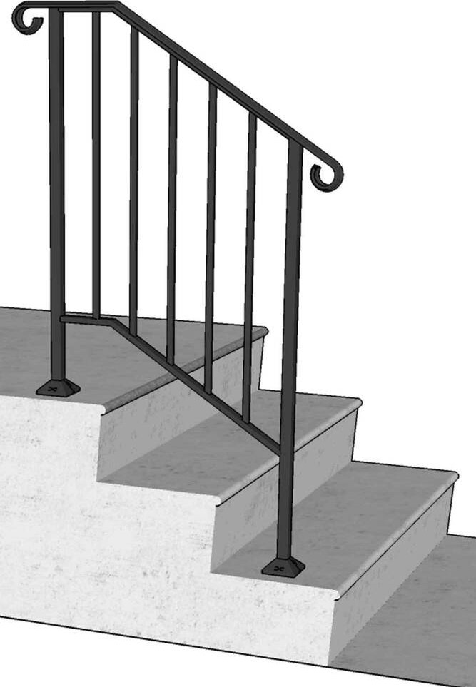 New Iron X Handrail Railing Picket Rail Fits 2 Or 3 Step   Wrought Iron Hand Railing For Steps